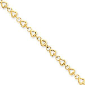 """14k 9in Polished Fancy Link Heart Anklet Length 9"""" Jewelry Adviser Bracelets. $565.84. Free Gift Box. 14K Gold. 30 Days Returns. Up to 60% off Retail Prices"""