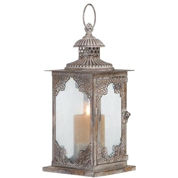Claudine Metal Lantern ($29) ❤ liked on Polyvore featuring home, home decor, candles & candleholders, metal lanterns, gray lantern, yoga home decor, grey home decor and metal home decor