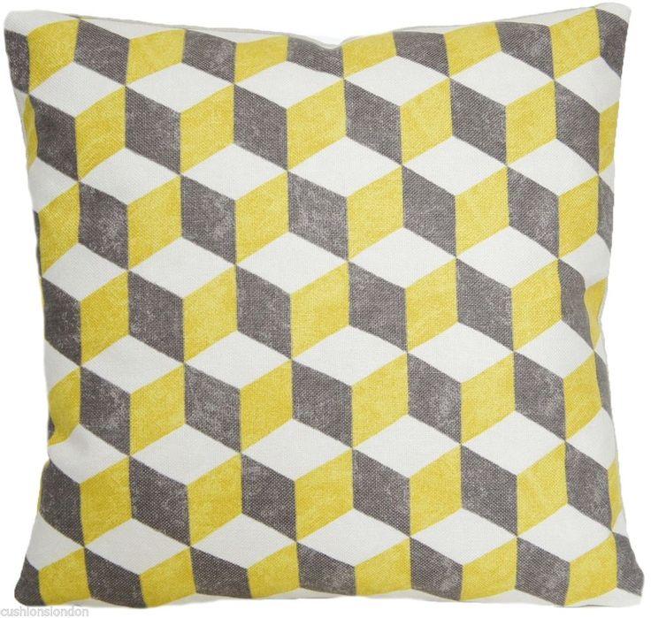 Cushion Throw Pillow Cover Balyan Osborne And Little Cotton Fabric Cubes Yellow