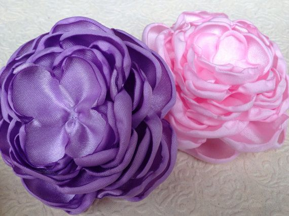 Satin petal flower, fabric flower, handmade flower, singed flower, pink and purple satin flowers, lavender satin flower