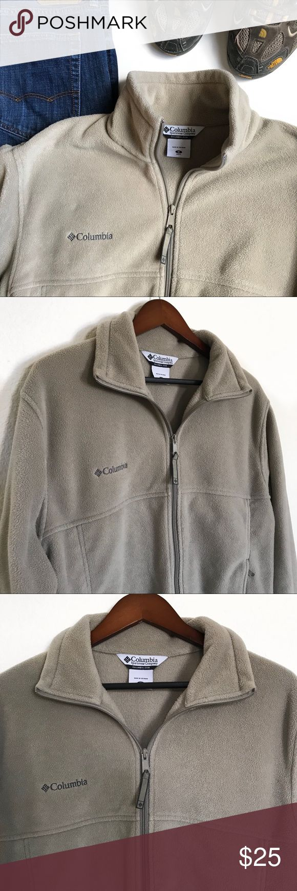 Colombia Men's Steens Mountain Fleece tusk Jacket • Description/details: Colombia Men's Steens Mountain Fleece tusk Jacket   • Nonsmoking home  • Size: M • Materials: 100% Polyester  • Flat lay Measurements:    - Bust 46 inches   - Shoulders 20 inches   - Length 26 (high point shoulder to hem)     - Sleeves 34 (measured from center neck to wrist hem) inches  • For any additional measurements or questions please leave a comment below Columbia Jackets & Coats