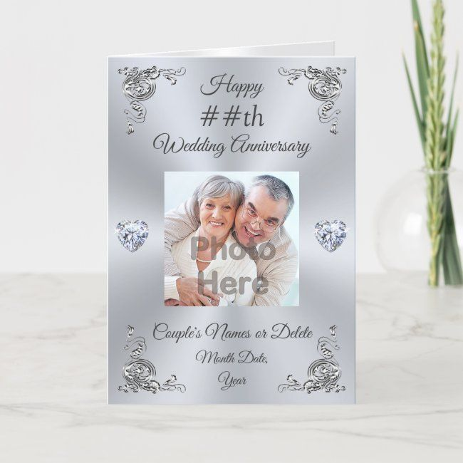 Personalised Wedding Anniversary Card With Photo Zazzle Com Wedding Anniversary Cards Wedding Anniversary Message Anniversary Cards For Wife