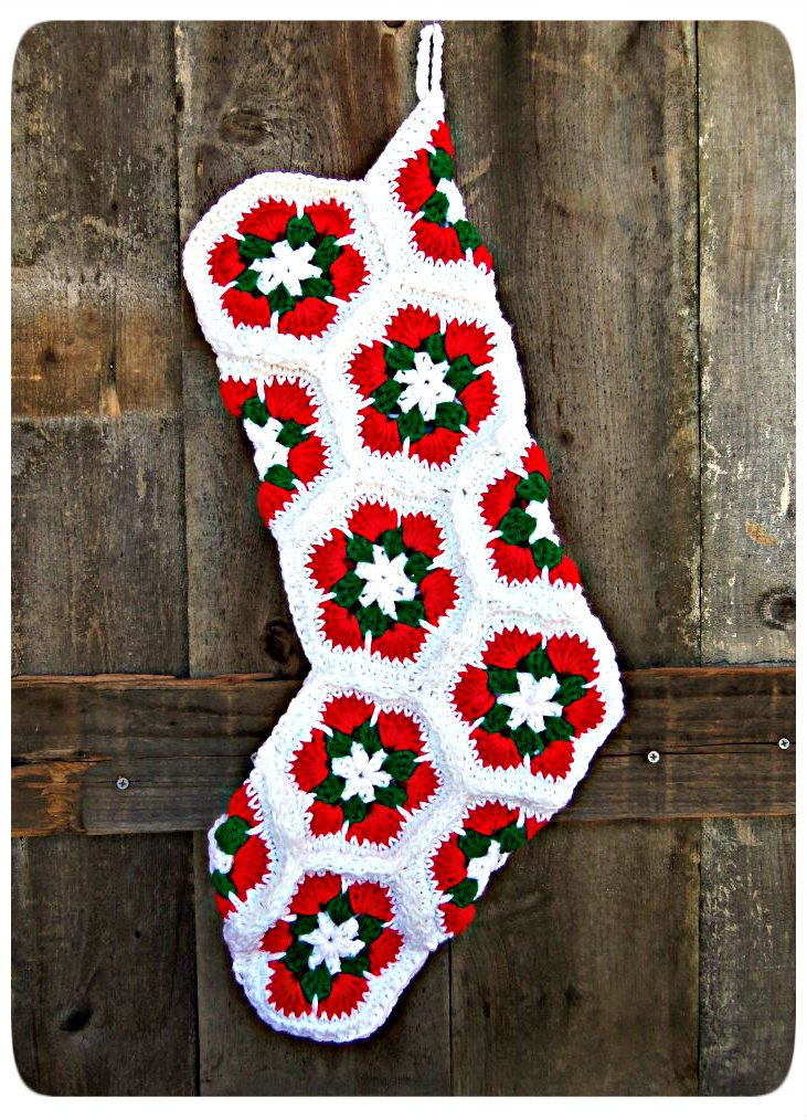 African Flower Crochet Stitch Christmas Stocking Pattern