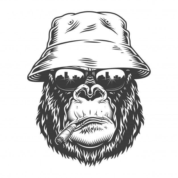 Download Gorilla Head In Monochrome Style For Free