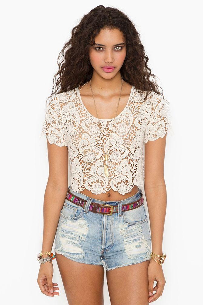 Crochet Crop Top - Cream, high waste jean shorts: Fashion, Crochet Dresses, Cream Topcollect, Summer Outfits, Crochet Crop Tops, Crochet Tops, Nasty Gal, Clothing Tops, High Waist Shorts