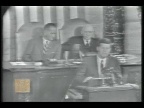 This is President John Kennedy's Special Message to the Congress on Urgent National Needs. It was recorded at a joint session of Congress at the Capitol in Washington, D.C. The President asks Congress for an increase in funds to send a man to the moon, to increase unmanned space exploration, to develop a nuclear rocket, and to advance satellite technology.
