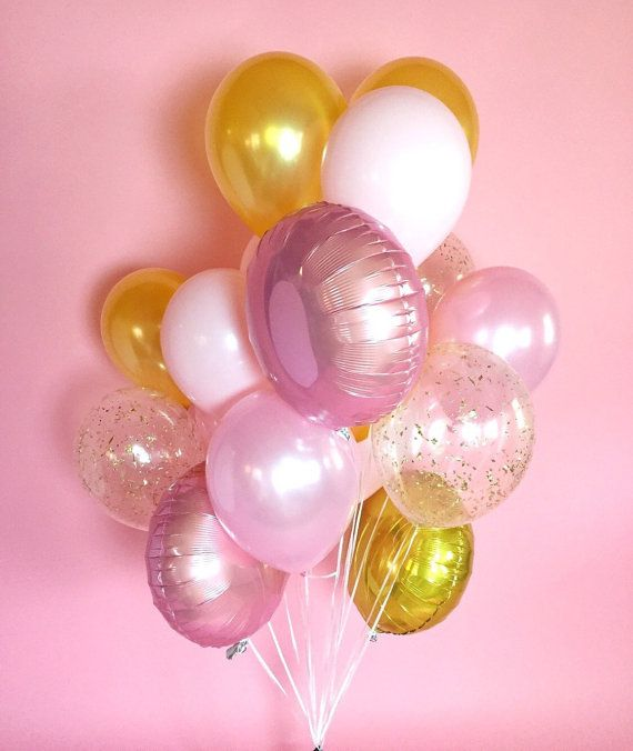 $24 for 18 balloons - Pink Gold Giant Balloon Bouquet Confetti by LolasConfettiShop