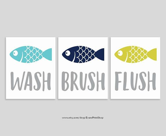 Fish Bathroom Decor  Set of 3 Art Prints  Fish Bathroom Wall