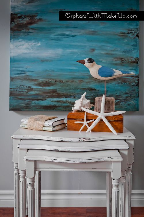 "Nesting tables painted with Annie Sloan Chalk Paint in ""Pure White"""