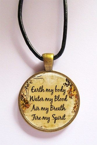 Wiccan Chant Glass Art Pendant in Bronze with Leather Cord