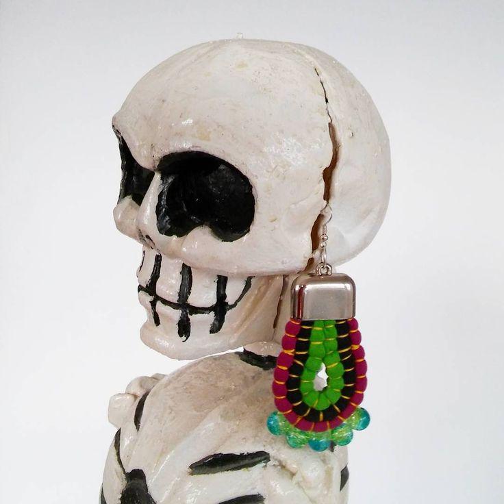 :)   #halloween #earrings #recycling #upcycling #upcycledjewelry #jewellery #kolczyki #kościotrup #tshirtjewelry #fabricjewelry