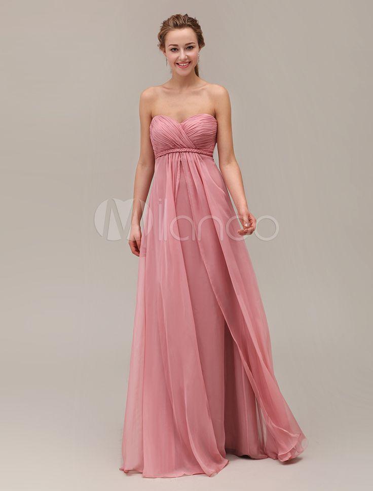 Brautjungfer-Kleid aus Chiffon mit Herz-Ausschnitt in Nude-Tönen
