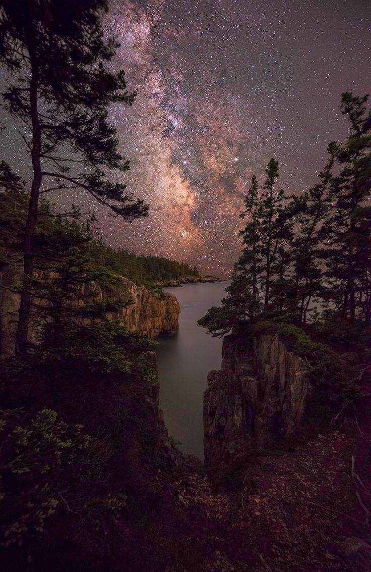 Milky Way rising over the Atlantic seen from the Schoodic Peninsula in Acadia National Park [OC][2533  3900]