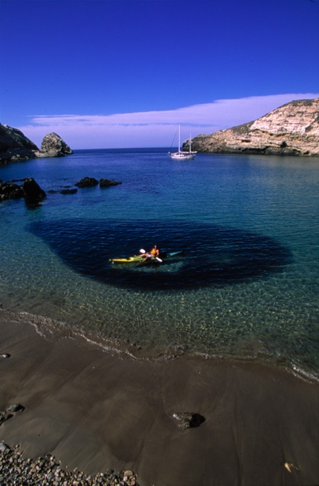 Kayaker above bait ball of fish santa cruz island for California out of state fishing license
