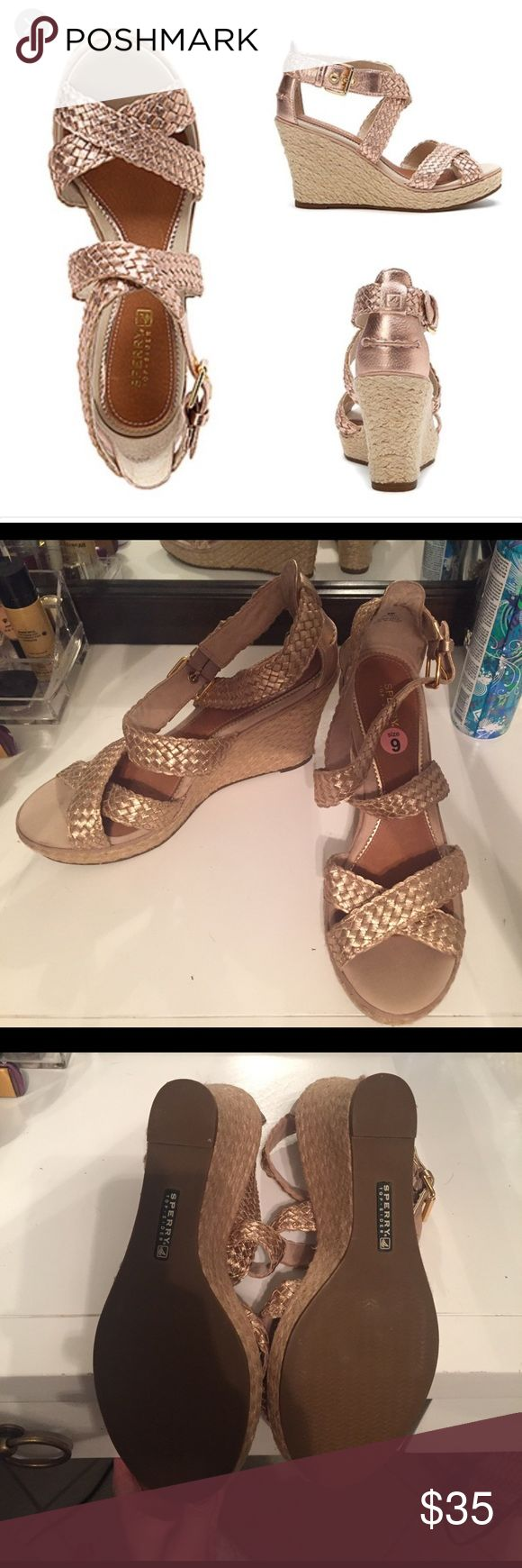 Sperry Rose Gold Wedge - size 9 Sperry Top Sider Rose Gold Wedge. Like New. Worn once. Size 9 Sperry Top-Sider Shoes Wedges