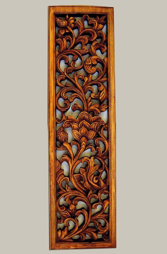 """Pannello in legno intagliato vintage """"Motivi floreali"""", sculture in legno fatte a mano, artigianato appeso a parete in legno pannello, tre dimensionale Wall Decor, OOAK regalo"""