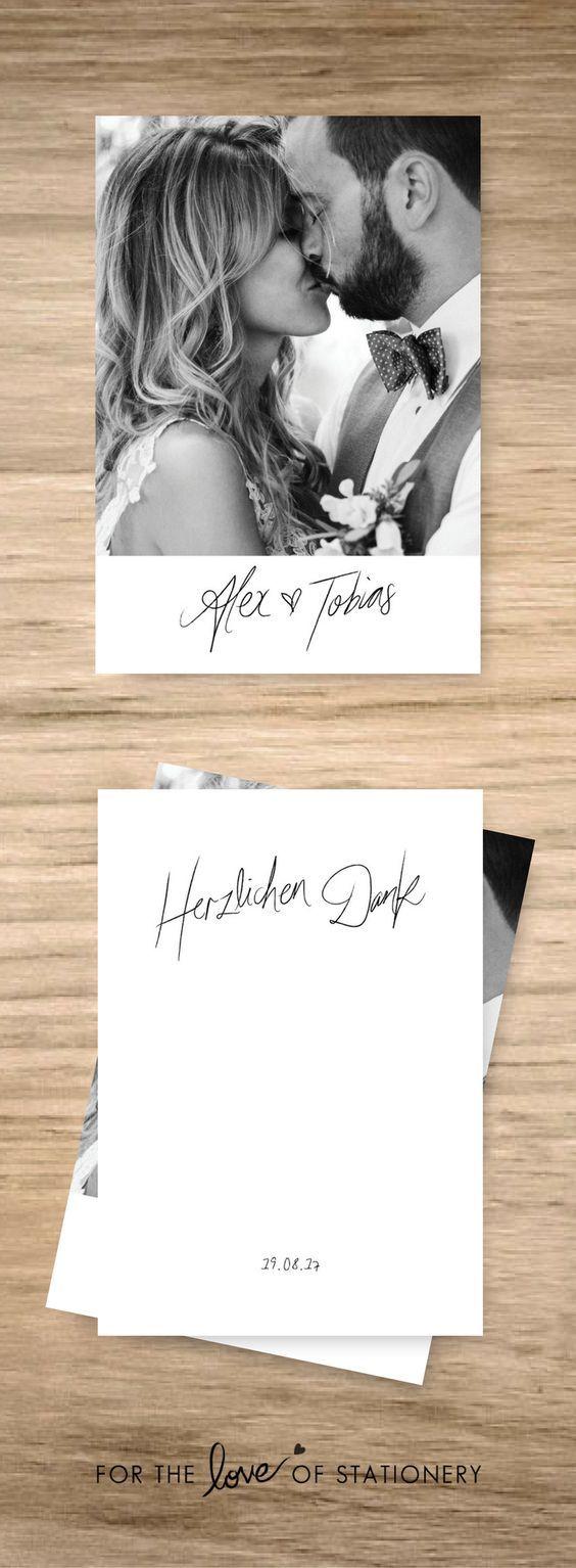 Herzlichen Dank German Rustic Wedding Thank You Cards Printable Photo Card Thank You Postcard