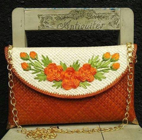 New Bali Handmade Flower Crafted Envelope Clutch Pandan Weaved Satchel Gepenik | eBay