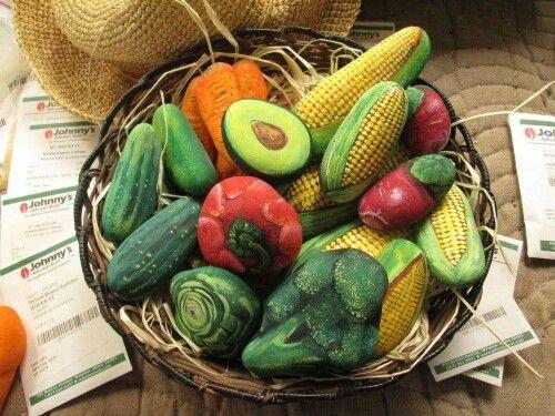 Vegetable painted rocks