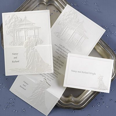 Wedding invitations ideas from 2 as 1 bride and groom and garden gazebo on this invitation on creamy white paper.  DAF226