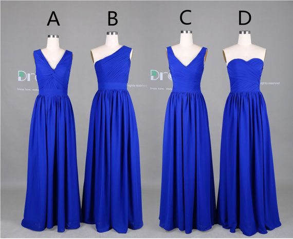 Custom Made bleu Royal longue mousseline demoiselle dhonneur robe/demoiselle dhonneur robes de demoiselle dhonneur robe/Long Party de robe/mariage