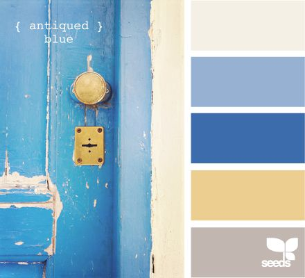 antiqued blue.   Not real fond of the really weathered look.  We like every thing to look new.  These are almost our new house colors as we are painting along and they look real nice.  Front door is going to be the darker oriental blue but with a more of a brand new look.