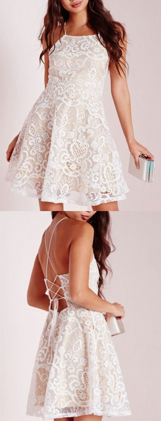 white homecoming dresses,lace homecoming dresses,backless homecoming dresses,sleeves cockatil dresses