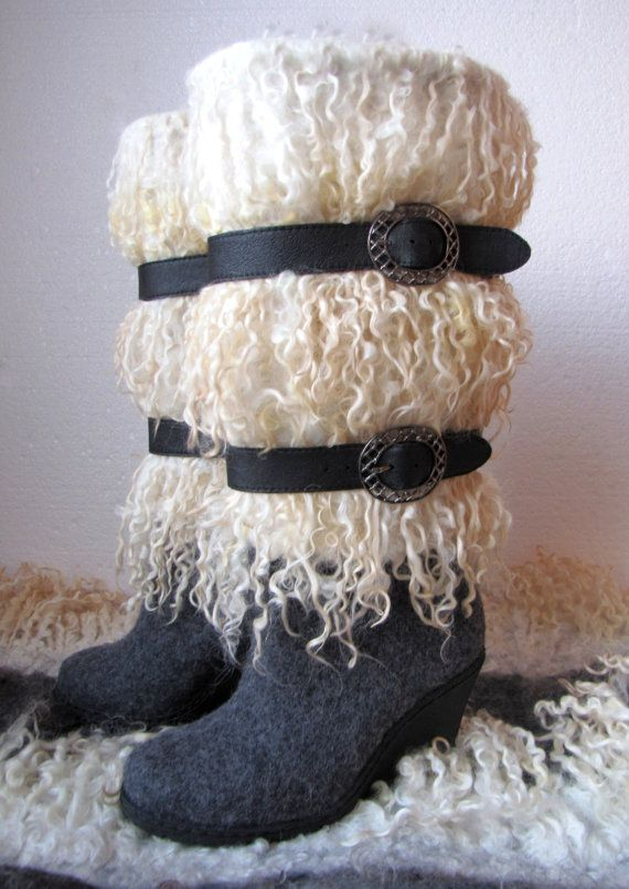 Felted boots Curly by VictoriaPetryk on Etsy, $229.00