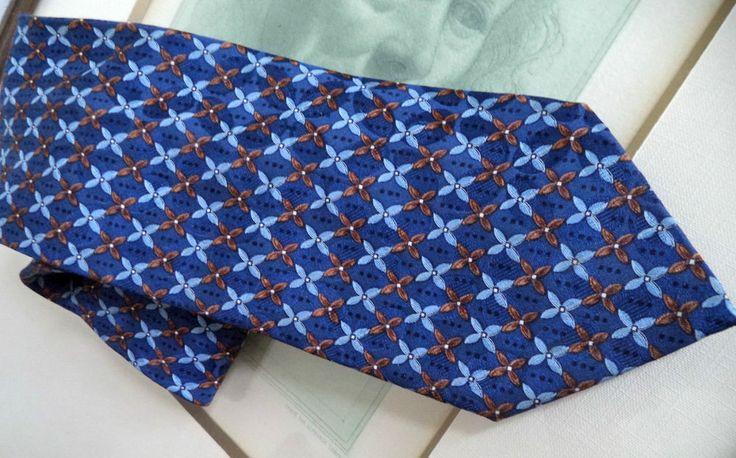 Zegna Classic Pure Silk Mint Blue Sienna chain micro print Italy Necktie tie
