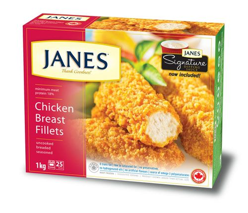 Tender chicken fillets breaded in a toasted wheat coating. With zero trans fats, preservatives or artificial flavours, you can feel good about enjoying these. Now includes Janes Signature sauce - a creamy, tangy sauce that's perfect for dipping!