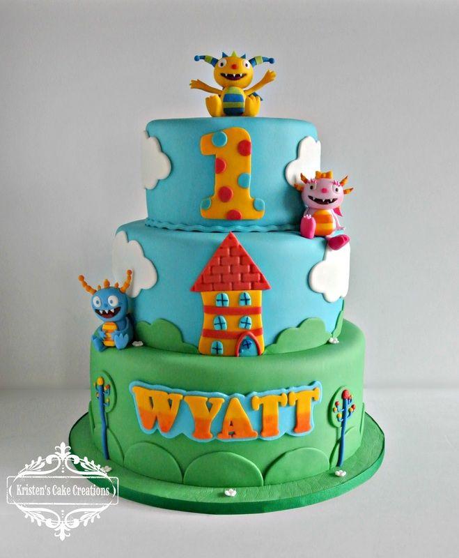 Birthday/Specialty Cake Gallery - Kristen's Cake Creations - Henry Hugglemonster tiered cake, all fondant