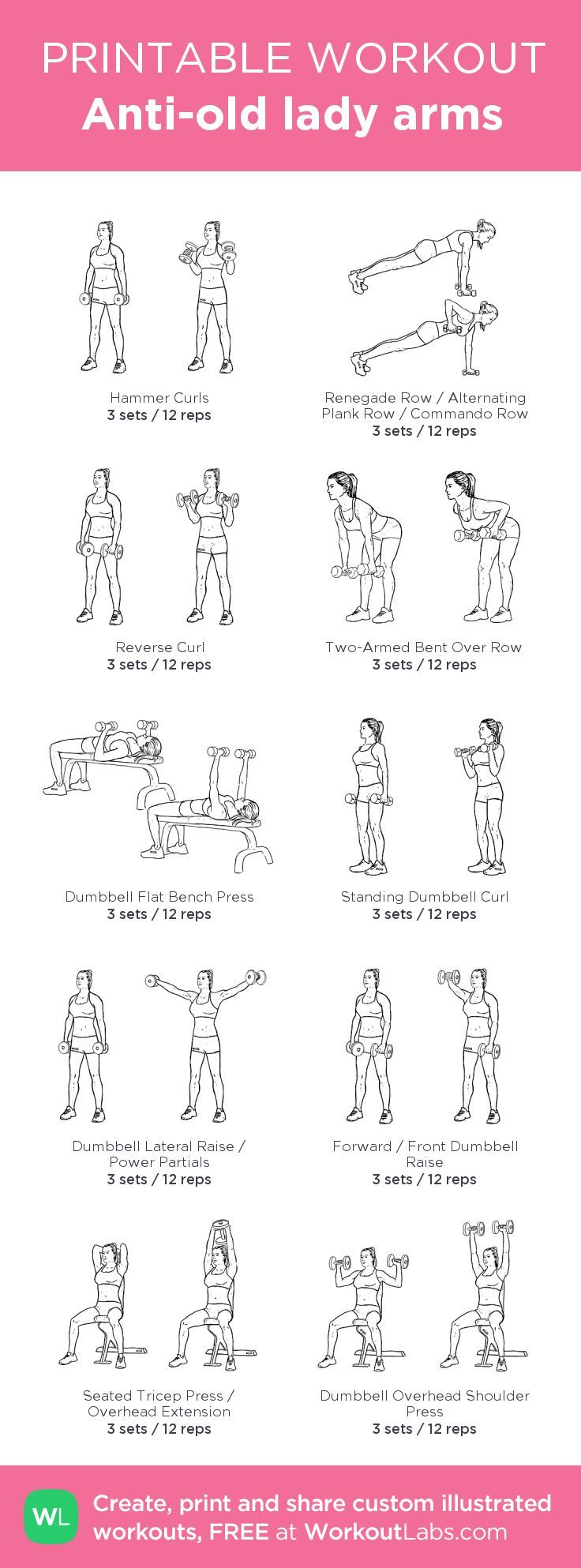 Anti-old lady arms:my visual workout created at http://WorkoutLabs.com • Click through to customize and download as a FREE PDF! #customworkout