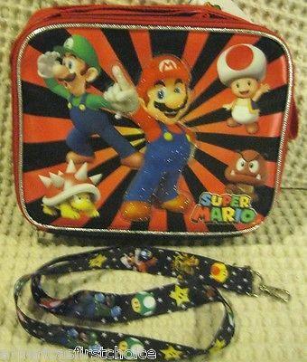 Super Mario Brothers Mario Luigi Goomba King Koopa Toad Lunch Bag+Lanyard-New!v2
