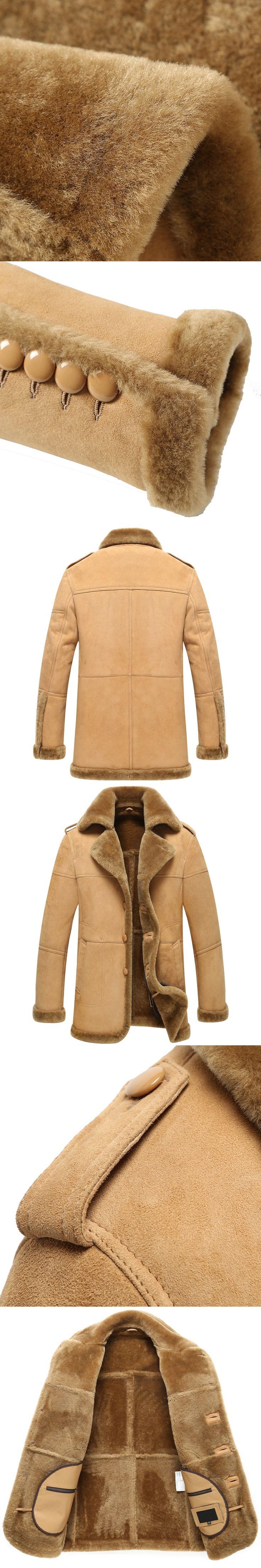 Leather Jacket Man Shearling Coat Sheepskin Jacket B-3 Bomber Outerwear Flight Coat TJ03