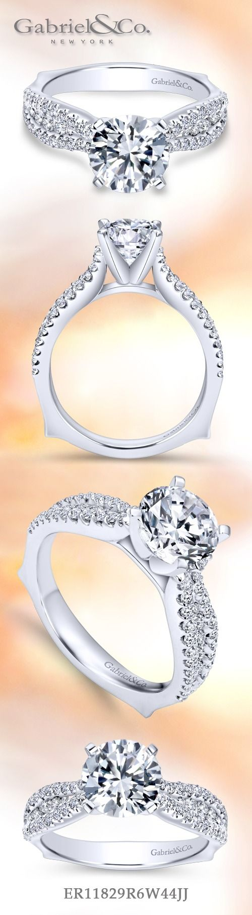 Gabriel & Co. - Voted #1 Most Preferred Fine Jewelry and Bridal Brand.  Meet Marley -14k White Gold Round Straight Engagement Ring that focuses on intertwined paths of diamonds that symbolize unity and love.