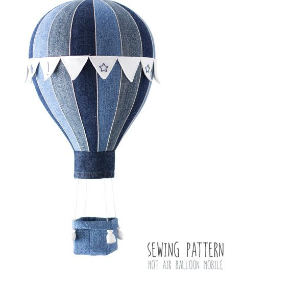 Pattern Hot Air Balloon (A), 16 Segments - Baby Mobile, Home Decor - Hot Air Balloon Flags, Basket and Weight Bags