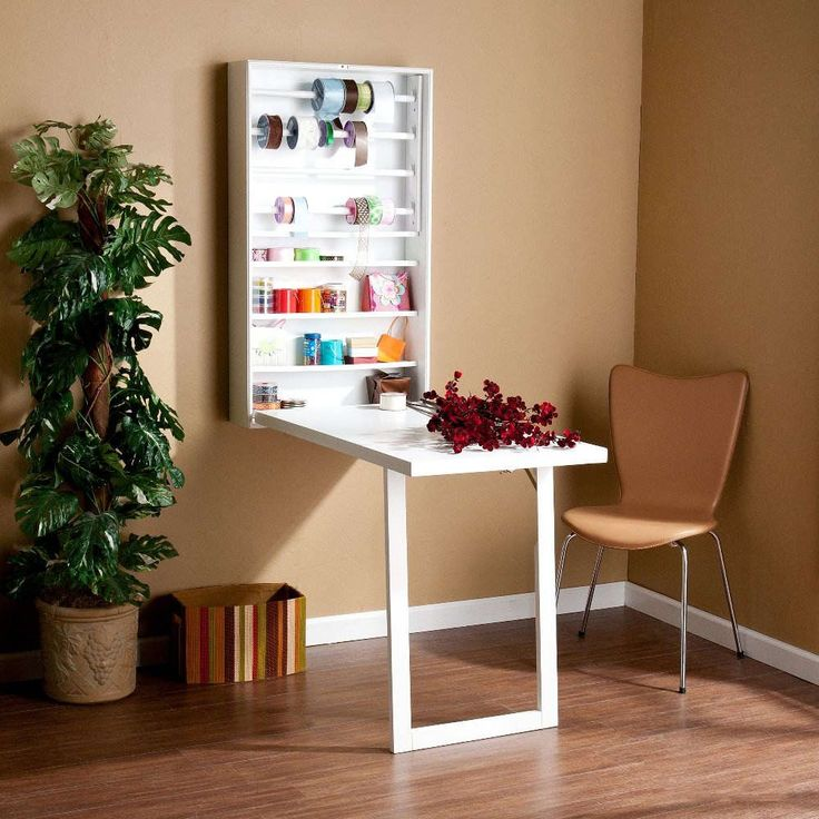 Furniture:Chic Painted Wood White Wall Mounted Folding Table Design With  Brown Plain Wall Also