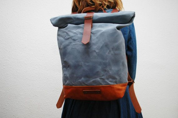 waxed Canvas Backpack sky blue color hand by NATURALHERITAGEBAGS