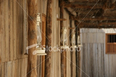 Side of a Hut with Lanterns Royalty Free Stock Photo