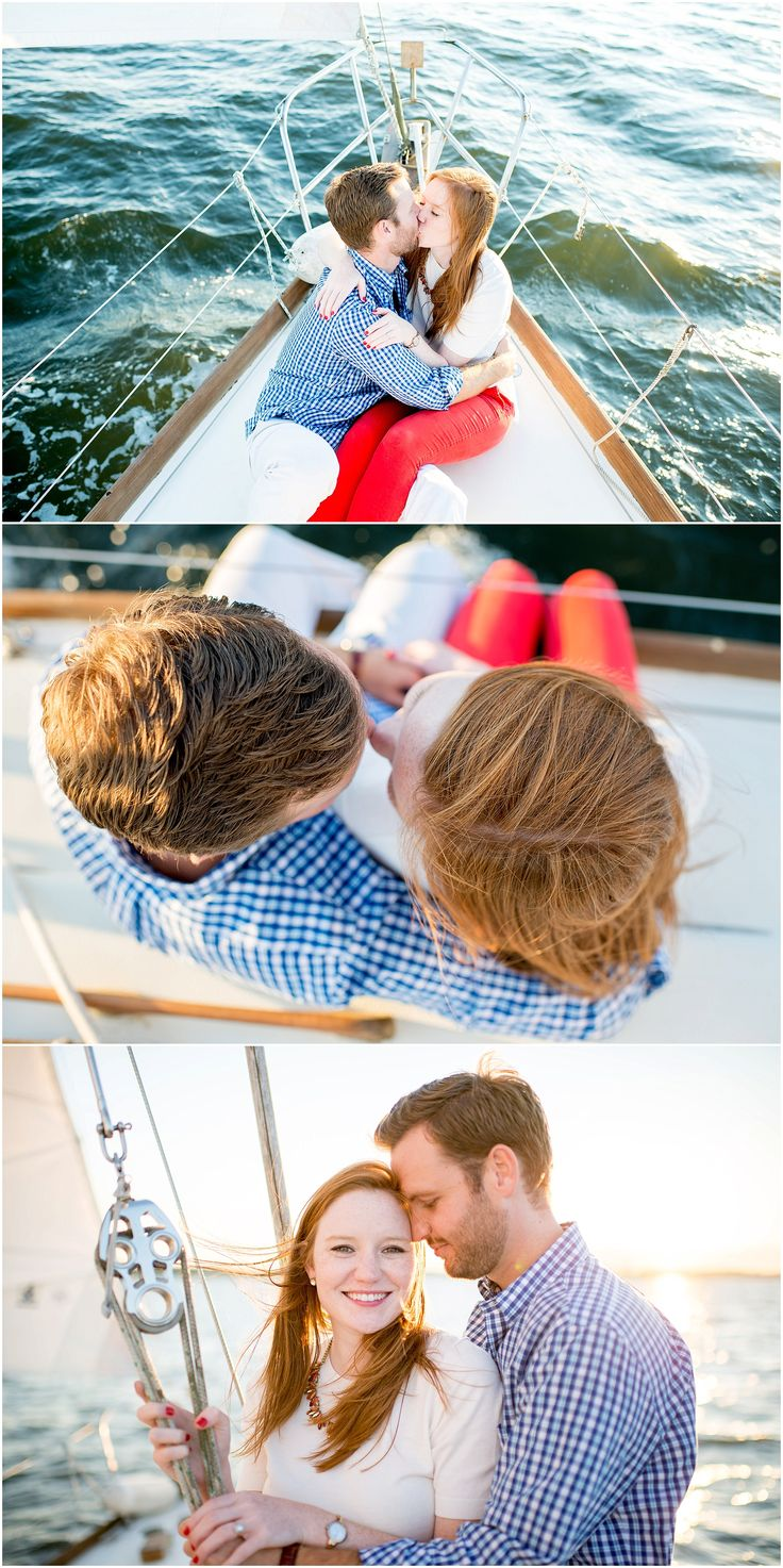 Sailboat engagement session in Annapolis, MD with Hannah Leigh Photography