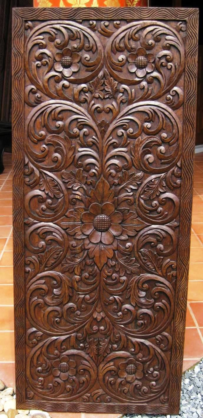 Hand carved Teak Panel