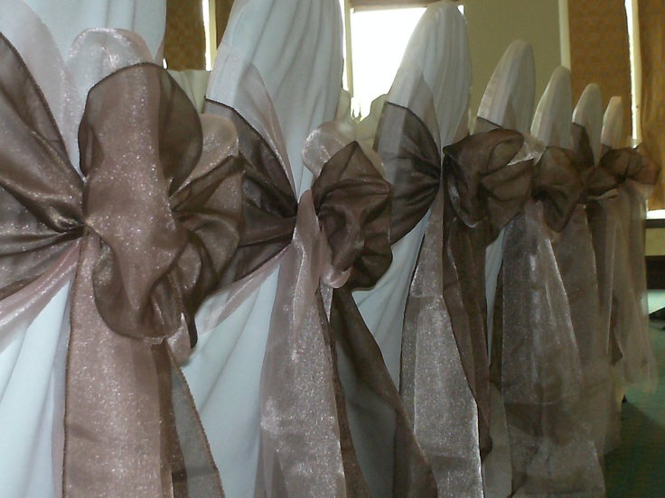 Double Baby Pink and Chocolate Organza Bows on White Chair Covers