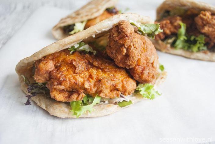 Pittige gefrituurde kip