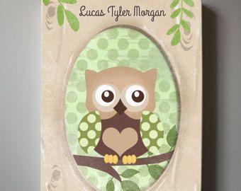 Baby Boy Owl Nursery Decor Brown and Green Owl Canvas Art Nursery Decor - Kids wall art, Baby Boy Owl Nursery Art