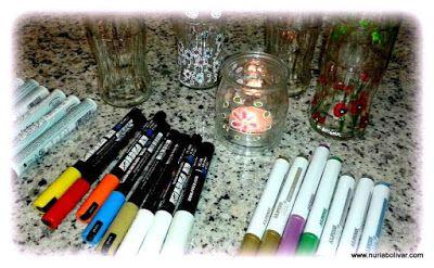 Art i sensacions: Detall noves ampolles pintades a mà.