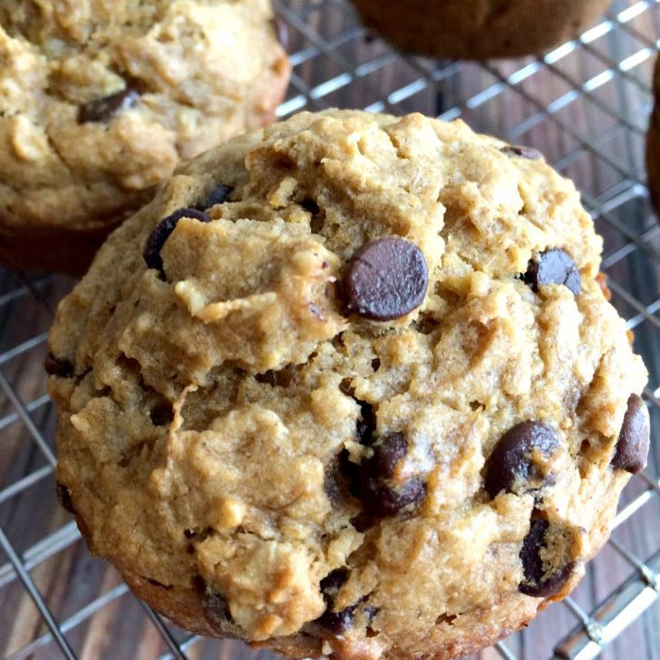 Butternut Squash Banana Chocolate Chip Muffins Recipe Breakfast and Brunch, Breads with bananas, butternut squash, egg whites, coconut oil, maple syrup, ground cinnamon, ground ginger, ground nutmeg, sea salt, baking soda, whole wheat flour, oat flour, rolled oats, mini chocolate chips