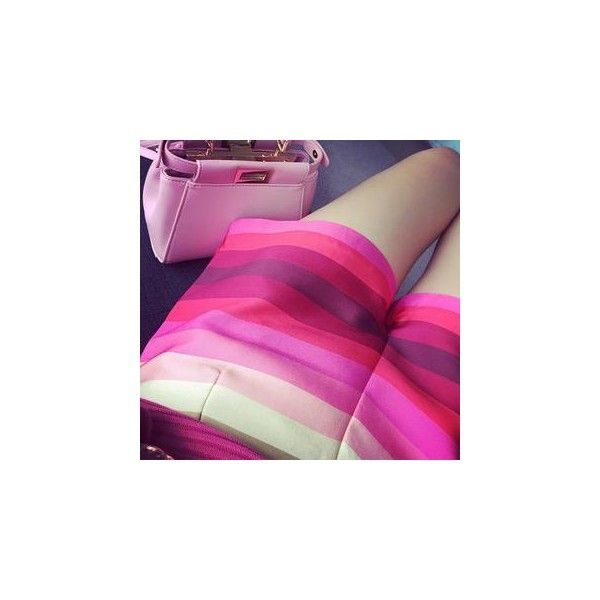 Striped Shorts ($30) ❤ liked on Polyvore featuring shorts, women, striped shorts, pink shorts and stripe shorts