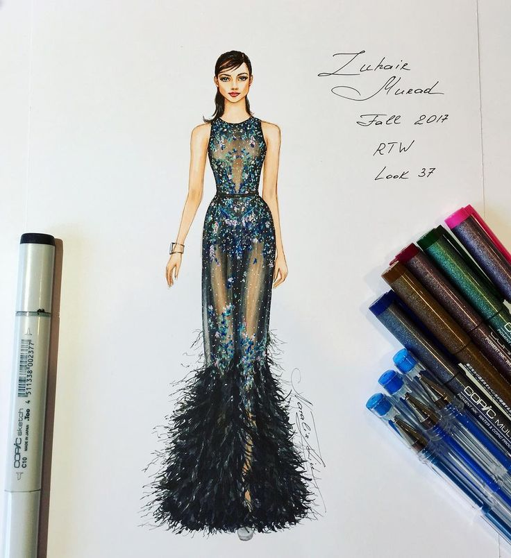 """796 Likes, 10 Comments - NataliaZ.Liu (@nataliazorinliu) on Instagram: """"My second illustration of haute couture Jean Paul Gaultier gown S/S 2017 collection…"""""""