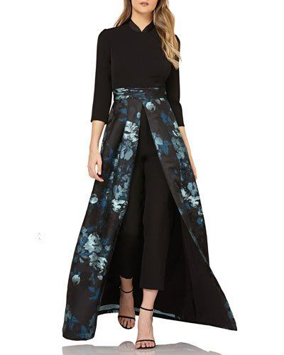 4e12a61659a TXJ0Y Kay Unger New York Crepe Jumpsuit w  Floral Skirt Overlay ...