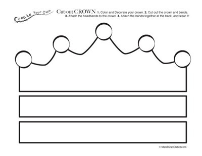 Free printable cut out crown coloring page free for Free printable tiara template